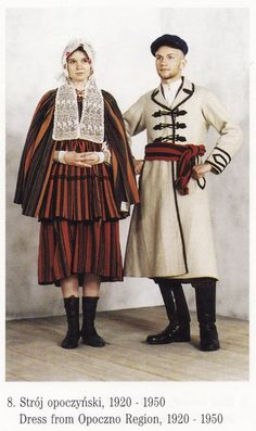 Folk costumes from Opoczno region (Poland), Polish Clothing, Folk Clothing, Polish Embroidery, Polish People, Polish Folk Art, Costumes Around The World, Steve Mccurry, Ethnic Dress, Arte Popular