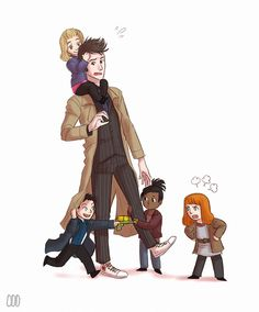 """10 and his companions. I love how Martha has him by the leg like she's saying, """"He's mine."""" But the Doctor is trying to shake her off because he's in love with Rose who is on his shoulders playing with his hair. (Who wouldn't want to play with that hair!) Meanwhile, Jack is running around crazy, shooting people, and Donna is yelling at him to stop messing around!"""