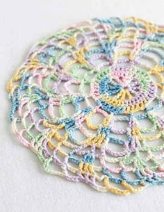 Free crochet pattern shaded pinks doily these doilies make me think vintage pastels doily easy crochet dt1010fo