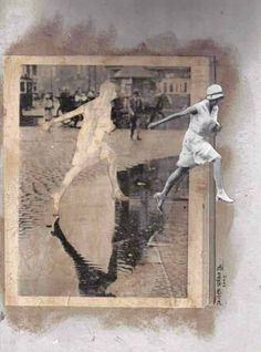 Collage by Javier Serna, Yo me voy /I´m leaving, 2010 __ Javier Serna (Madrid, Collagist, illustrator and self-taught artist. Photography Sketchbook, Art Photography, Collages, Collage Artwork, Kunst Online, Illustration Art, Illustrations, Collage Vintage, Photocollage