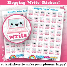 One sheet of 42 cute little blogging write stickers, perfect for your planner…