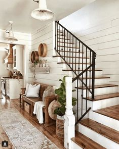 Farmhouse entryway and decor - shiplap walls, iron. - - Farmhouse entryway and decor - shiplap walls, iron. - Farmhouse entryway and decor - shiplap walls, iron. Beautiful Bedroom Designs, Beautiful Bedrooms, Beautiful Stairs, House Beautiful, Beautiful Monday, Beautiful Space, Beautiful Pictures, Living Room Modern, Living Room Stairs