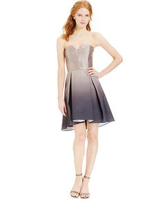 Betsy & Adam Strapless Asymmetrical Ombre A-Line Dress $134