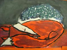 Little Dog Art Blog: 5th Grade Winter Fox Paintings