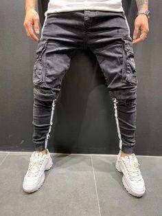Fresh nd' Clean Jeans Jogger Stripes Harem Jeans, Jeans Cargo, Grey Cargo Pants, Fashion Pants, Mens Fashion, Modern Fashion, Fashion Styles, Street Fashion, Elastic Jeans