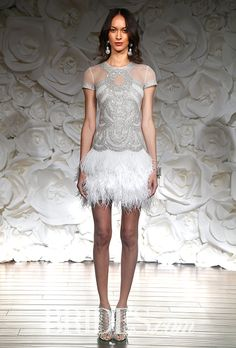 Art Deco detailing and #feathers are great for a second wedding dress | Brides.com