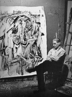 Willem De Kooning (1904-1997) fotografato nel suo studio da Harry Bowden (1907-1965), 1950