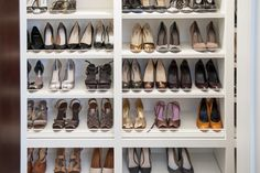 Other shelves hold a collection of heels.