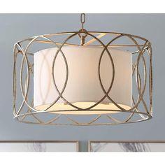 Sausalito Wide Silver Gold Pendant Light - Lamps Plus Drum Shade Chandelier, Pendant Chandelier, Gold Pendant, Pendant Lighting, Entryway Chandelier, Light Pendant, Entryway Lighting, Office Lighting, Entryway Ideas