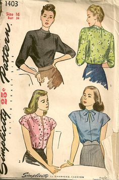 Vintage Dress Patterns, Blouse Vintage, Blouse Patterns, Clothing Patterns, Skirt Patterns, Vogue Patterns, Coat Patterns, Vintage Outfits, Vintage Fashion