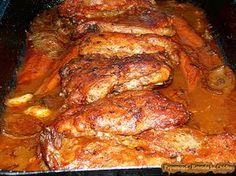 Friptura de Porc in Sos de Vin. Cu Cartofi Dulci (7) Romanian Food, Cordon Bleu, Lamb, Bacon, Pork, Turkey, Healthy Recipes, Chicken, Meat