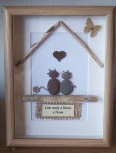 Guijarro arte enmarcado cuadro  gatos hacen una casa por Jewlls4u