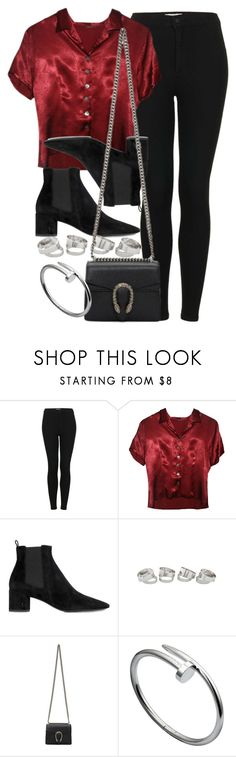 """#14767"" by vany-alvarado ❤ liked on Polyvore featuring Topshop, Yves Saint Laurent and Gucci"