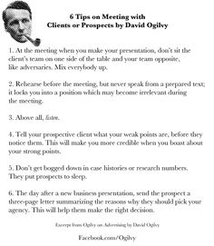 6 Tips on Meeting with Clients or Prospects by David Ogilvy ... #Ogilvy