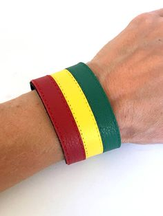 Rasta Leather Bracelet CuffLeather WristbandRastafarian by ISHAOR Thick Leather, Leather Cuffs, Leather Jewelry, Real Leather, Leather Men, Pride Bracelet, Cuff Bracelets, Rasta Colors, Leather Wristbands