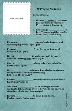 10 Prayers for Teens. FREE! Prayer Journal Printable
