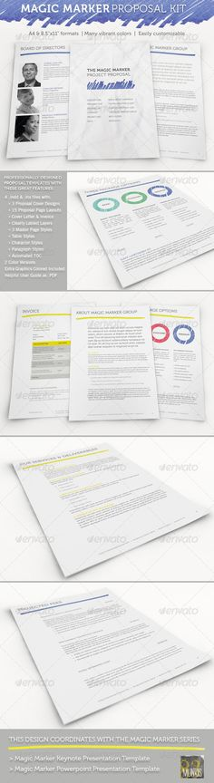 Magic Marker Business Proposal Template ...  Business Contract, a4, agreement form, blue, brand identity, business documents, business proposal, clean, cover letter, cover letter template, customizable, design proposal, easy, estimate, fresh, green, hand made, invoice template, job proposal, letterhead, modern, professional, project estimate, project proposal template, sample proposal, yellow