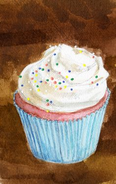 . Cupcake Painting, Cupcake Art, Cupcake Illustration, Illustration Art, Illustrations, Cupcakes, Wine Recipes, Macarons, Sweet Cup