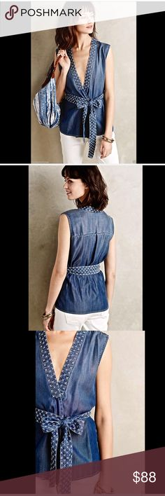 "Anthropologie denim tencel Stitche Chambray Vest M Anthropologie denim tencel Stitched Chambray Vest / Sleeveless Wrap V Neck Belted Top soft lyocell chambray V neck wrap sleeveless top / vest with a embroidery down front, neck and on the long belt the belt is long enough to tie in a bow  New With Tags  *  Size: Medium retail price $98.00  * can be worn as a vest, layering piece or tank top  100% tencel ( lyocell) machine wash cold import  measures:  40"" around bust 40"" around waist before…"