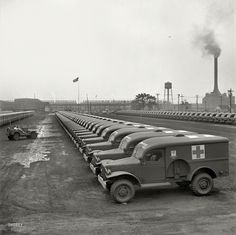 August 1942. Detroit, Michigan. Chrysler Corporation Dodge truck plant. Dodge ambulances are here, lined up for delivery to the Army. Photo by Arthur Siegel for the Office of War Information.