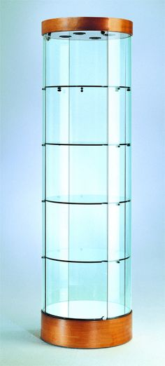 round glass display case tower case in cherry and silver ship in 3 days