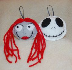 Nightmare Before Christmas Jack Skellington and Sally Ornaments.