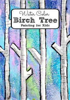 Easy Water Color Birch Tree Painting with Kids for a fun winter art activity for kids with water colors from Amanda at The Educators' Spin On It