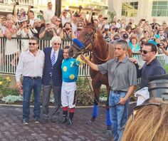 American Pharoah and crew at Churchill Downs to receive their engraved trophies 6/13/15