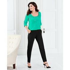 A vivid julep green hue brightens any office appropriate look. #WHBM #WorkMastered