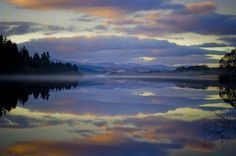 landscapelifescape: Loch Ken, New Galloway, Scotland Mist on Loch Ken (by WullieS) Galloway Scotland, Places In Scotland, Canada Travel, Mists, Sunrise, Scenery, Places To Visit, Explore, World