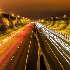 """photo: """"Long exposure shot of the motorway, Dublin, Ireland. Taken by Semmick Photography # travelshots Road Trippin, Dublin Ireland, Long Exposure, Main Street, Maine, Shots, Country Roads, Photography, Instagram"""