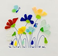 Lovely Garden of flowers Sea glass Art pictures