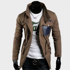 This could work for a Rogue jacket! S $19.87 Mens Coffee Outerwear Winter Long Coat Mens Fashion Jacket High Collar US Size:S