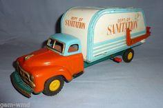 1950s 60s Tin Litho Friction Powered Sanatation Truck Made in Japan | eBay