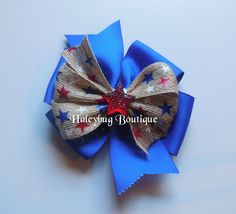 Fourth Of July Hair Bow Red White Blue by HaleybugBowCreations