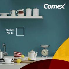 Con el color #Chelsea darás elegancia a tus espacios. ¿Cómo lo combinarías? #Decoración #ComexPinturerias