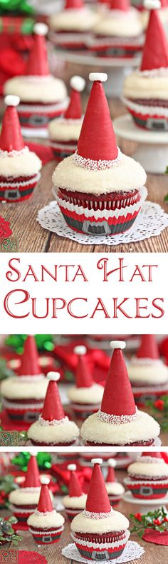 Santa Hat Cupcakes - so easy and so cute! | From OhNuts.com