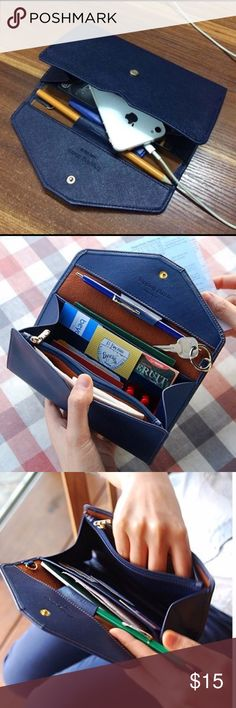 Dark blue/navy candy color saffiano leather wallet Candy Color Women Clutch Purse Hasp Design Handbag Letter Ladies Wallet For Female PU Leather Long Wallets Envelope Wallet. To buy a few items together for one shipping label (up to 5 lbs), please add it to bundle. Bags Wallets
