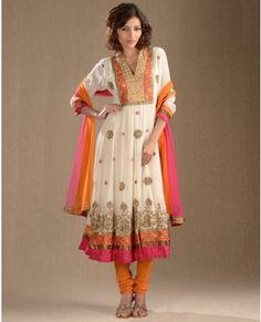 Embellished Cream and Tangerine Kalidar Suit