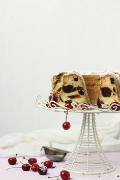 egg white bundt cake with cocoa, cherries & raisins