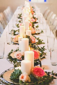 18 New Ideas Wedding Table Settings Romantic Candles Wedding Reception Centerpieces, Simple Centerpieces, Wedding Table Flowers, Wedding Table Centerpieces, Wedding Table Settings, Centerpiece Ideas, Reception Ideas, Wedding Decorations, Floral Wedding