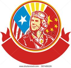 World War 2 Pilot USA China Flag Circle Retro Vector Stock Illustration Illustration of a world war two pilot airman aviator smiling looking to the side with USA and China flags in the background in the background set inside circle done in retro style. Retro Vector, Military Art, Veterans Day, World War Two, Retro Style, Memorial Day, Flags, Retro Fashion, Pilot