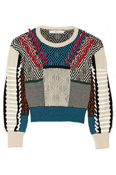 Toga Faux leather-trimmed cotton-blend intarsia sweater | THE OUTNET