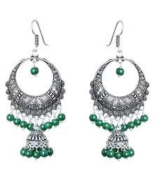 Waama Jewels Green Pearl Silver Plated ChandBali Jhumka Earring For Women and Girls Perfect for All Occasions