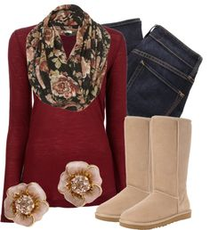 """Dusty Rose 2"" by qtpiekelso on Polyvore --- I adore this whole outfit ! Especially the earrings and scarf"