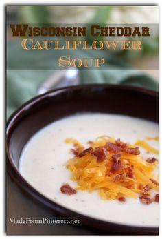 Wisconsin Cheddar Cauliflower Soup - TGIF - This Grandma is Fun