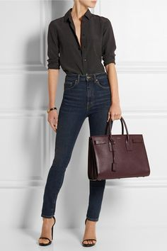 SAINT LAURENT Sac de Jour textured-leather tote; Polka-dot silk shirt; High-rise skinny jeans ; Jane leather sandals