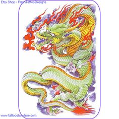 Dragon Tattoo Flash Design 4 for you on Etsy. Top quality high resolution color design, with tattoo stencil outline. Instant download only $1.95. Get the body art you deserve. Many other designs.