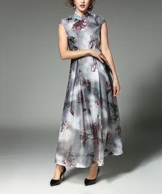 Take a look at this YYFS Gray Floral Maxi Dress - Plus Too today!