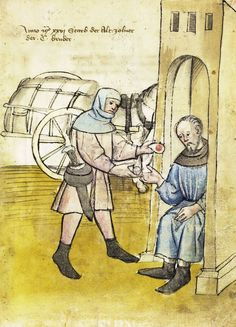 Illustration of a Tax Collector - From the House Books of the Nuremberg Twelve Brothers Foundation, records of a charitable foundation started in the city of Nuremberg in 1388. The foundation would take 12 poor and needy people and provide them with training in a trade. Starting around 1425 their books would contain one-page illustration of the people they had helped, usually giving their name and what profession they were in. - Nuremburg, Germany - c. 1425-1450